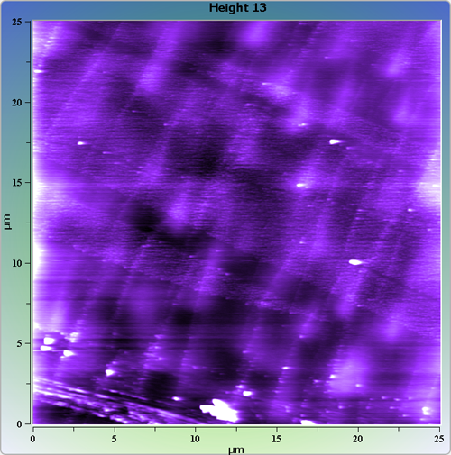 Indium phosphide (InP) on sapphire surface. AFM image. Semi-contact mode. Topography.