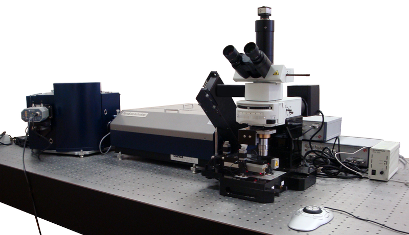 Scanning AFM/Confocal/Raman/Fluorescence system with double dispersion monochromator for Raman/Fluorescence and AFM/Raman (TERS) imaging